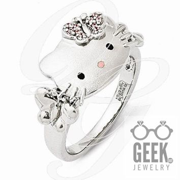 Sterling Silver Hello Kitty Pink Swarovski Crystal/Enamel Butterfly Ring