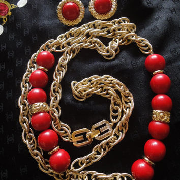 MINT. Vintage Givenchy gold tone chain and red color balls long necklace and earrings set,  Gorgeous statement jewelry. Audrey