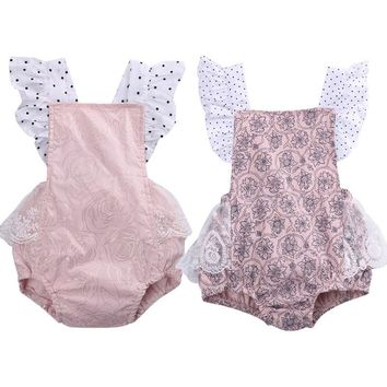 Newborn Baby Girl Lace Floral Romper Jumpsuit Outfits Sunsuit Costume