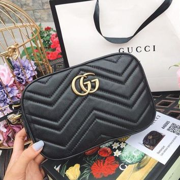 Gucci Fashionable Women Shopping Leather Double G Logo Shoulder Bag Crossbody Satchel Black I/A