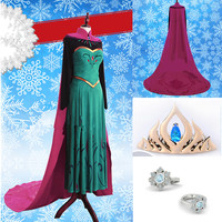 [Frozen] Queen Elsa  Coronation Formal Dress Cosplay Costume CP153383