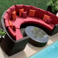 Curved Outdoor Rattan Set - OpulentItems.com
