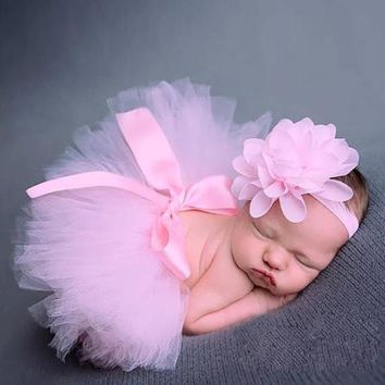Tutu Skirt + Headband Photo Prop Baby Girl Costumes