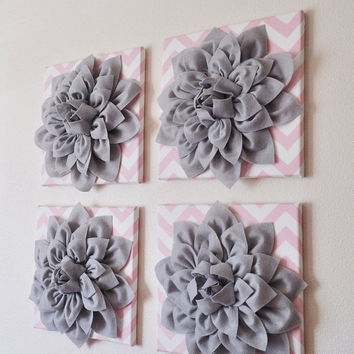 "MOTHERS DAY SALE Wall Hanging -Set Of Four Gray Dahlia Flowers on Light Pink and White Chevron 12 x12"" Canvases Wall Art- 3D Felt Flower"