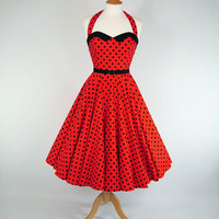 MADE TO MEASURE Red & Black Polka Dot Boned Full by GinAndSinEtsy