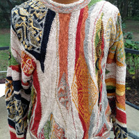 Coogie Sweater Made in Australia Bill Cosby Style Multi Colored Awesome Size Large Linen and Cotton
