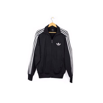 ADIDAS black + silver track jacket - trefoil logo - retro - mens medium
