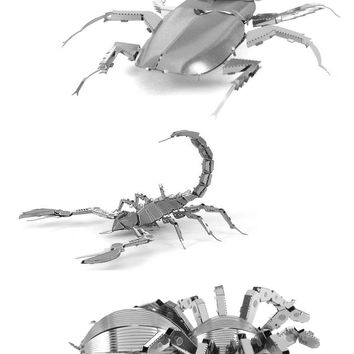 Metal Earth 3D Laser Cut Steel Models Stag Beetle Scorpion AND Tarantula SET 3