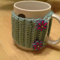Blue Green Flower Button Crochet Mug Cozy, coffee cup cozies, koozie