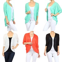 Sexy Knitted Dolman Sleeve Hi-Low Asym Hem Open Front Cardigan Light Sweater Top