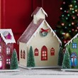 Multi Color Changing Led Lighted 3pc Holiday Cardboard Village House Church Indoor Christmas Colorful Lights Decoration
