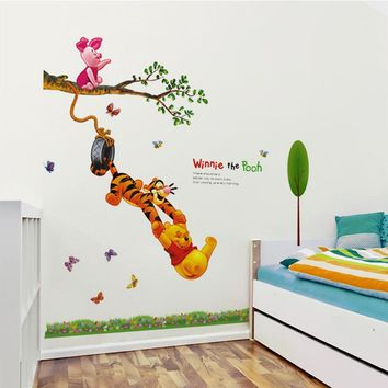 Animal cartoon Winnie The Pooh tree wall stickers for kids baby rooms boys girl home decor wall decals home decoration wallpaper