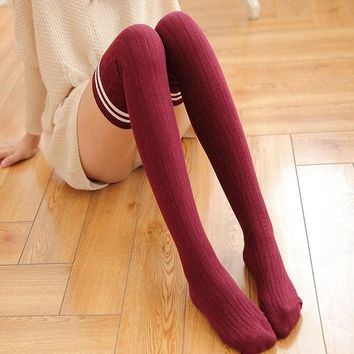 2018 Fashion Cute Japanese Style Socks Women Girls Thigh High Over Knee Socks Warm Cotton Striped Stockings Free Shipping