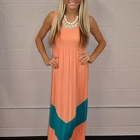 MVB Apricot and Aqua Color Block Chevron Maxi Dress - Ryleigh Rue Clothing by MVB