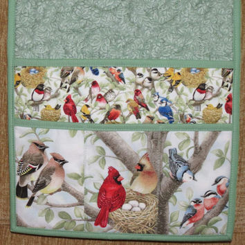 Quilted Armchair Caddy, Bedside Caddy, Remote holder, Birds
