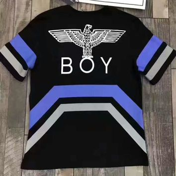 BOY Fashion casual blouse print monogram stripe splicing T-shirt