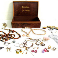 vintage wood Cigar Box Filled with Costume Jewelry, Necklaces, Pins, etc
