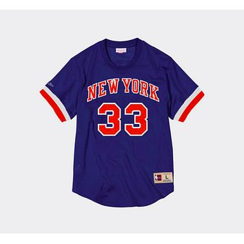 Mitchell Ness Patrick Ewing Name & Number Mesh Crewneck New York Knicks