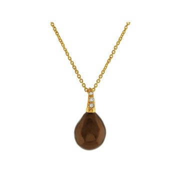 Fronay Co, 18k Gold Plated Sterling Silver Brown Baroque Pearl & CZ Pendant Necklace