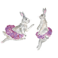 Watercolor rabbit painting, ballerina painting, ballerina nursery art, bunny baby nursery, rabbit kid art, dancing animal art, 10X8 print