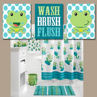 FROG Bathroom Wall Art CANVAS or Prints Frogs Child Theme WASH Brush Flush Polka Dots Blue Green Set of 3 Boy Girl Bathroom Decor