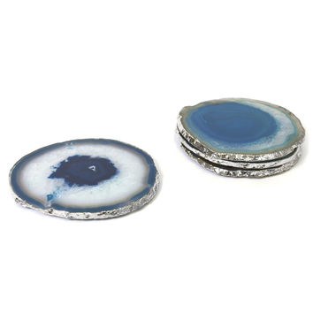 TEAL AND SILVER AGATE COASTERS
