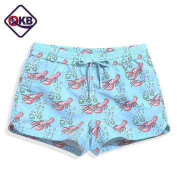 QIKERBONG Summer Lady Casual Shorts Women Beach Lobster  Print design lovely sweet Shorts Ladies'  Shorts Quick Drying Fabric