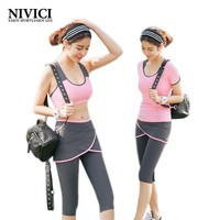 2017 The Hot Yoga Set Women's Sports Bra Sexy Push Up Skirt Pants Gym Breathable Fitness Clothes Workout Sport Costumes Capris