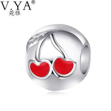 DCCKJY1 V.Ya  Big Hole Cherry Bead fit for Pandora Round Shape Beads for Women Chain New Fashion DIY Accessories Jewelry Charms PAZ22
