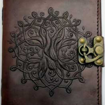 Tree of Life Leather Covered Journal with Latch 5 inches by 7 inches