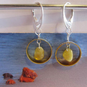 Baltic #Amber #metal #Earrings from 100% Natural amber 1.9 gr, #Silver 925 clasp yellow egg yolk butterscotch #round beads for #adult #Teens