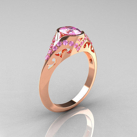 Classic 14K Rose Gold Oval Light Pink Sapphire Wedding Ring, Engagement Ring R194-14KRGNLPS