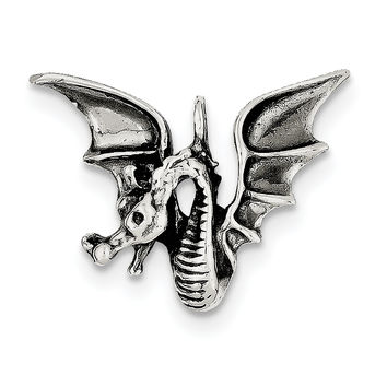 Sterling Silver Antiqued Dragon Pendant QC6600