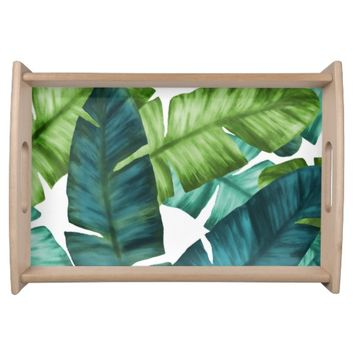 Tropical Banana Leaves Unique Pattern Serving Tray