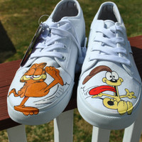 Garfield and Odie Funny hand painted sneakers size 9
