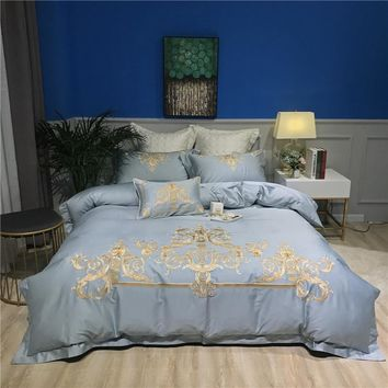 Luxury Bedding Set Egyptian Cotton Bed set Oriental Embroidery Duvet Cover Queen King Bed Sheets Linen set Home Decorative