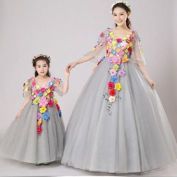 LMFLD1 Family-look  Mother Daughter Dresses for Weddings  2018 Summer Family-clothing Mommy and Daughter 3D Flowers Matching Outfits
