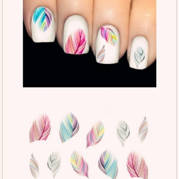 Hot Feature Nail Art Water Transfer Decal Sticker Rainbow Dreams  Feather  Pattern = 5617854145
