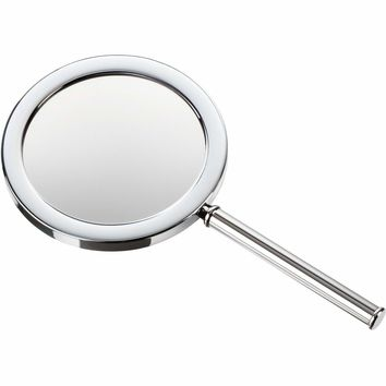 SPT 7 Round Hand Held Cosmetic Makeup Magnifying Mirror 3x. Chrome