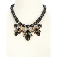 BEADED GEM STATEMENT BIB NECKLACE