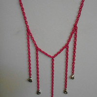 SALE 30 inch long Hot Pink with dangle silver Hearts chain necklace