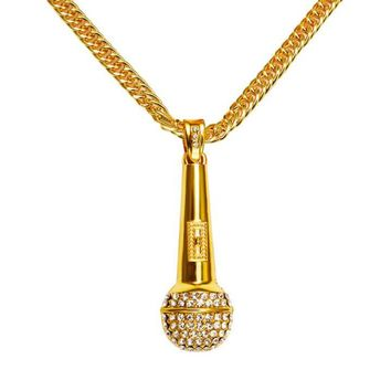 One-nice™ Alloy Sticky Drill Full Drill Stereo Microphone Hip Hop HIPHOP Necklace Pendant Golden
