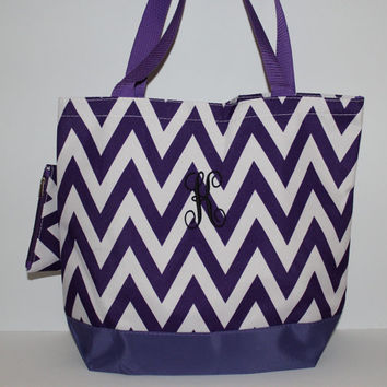 Purple Chevron Tote - Bridesmaid Tote Bag - Beach Bag - Vine Monogram Bag - Cheer Bag