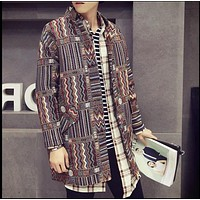Spring new men's Fashion casual windbreaker retro national wind long trench coat printing jacket Outerwear singer costumes