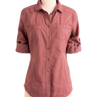 Sunday in Santa Fe Top in Cranberry | Mod Retro Vintage Long Sleeve Shirts | ModCloth.com