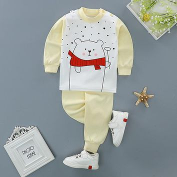 Winter cotton Baby Clothing Set Fashion cartoon Baby Boy Clothes High quality long sleeves 3 24 Months boys 2pcs Suit