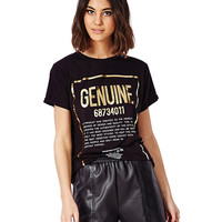 Black T-shirt with Gold Letter Print