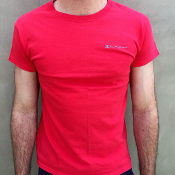 Vintage 1980s Red Champion Embroidered Stitched T-Shirt