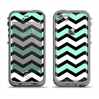 The Teal & Black Wide Chevron Pattern Apple iPhone 5c LifeProof Fre Case Skin Set