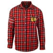 Chicago Blackhawks Wordmark Long Sleeve Flannel Shirt by Klew